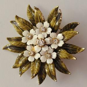 vintage Coro rhinestone enamel flower brooch pin